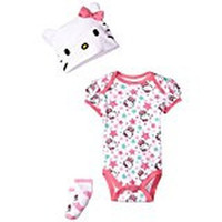 Hello Kitty Pink Baby-Girls Newborn Bodysuit, Cap, and Socks 3-Piece Set