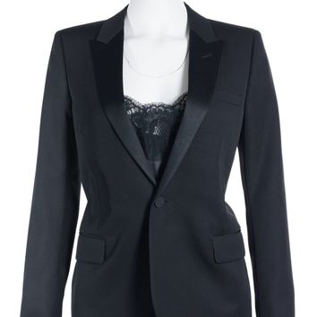 Saint Laurent Womens Black One Button Wool Tuxedo Jacket