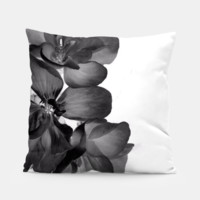 Geranium In Black and white Pillow, Live Heroes