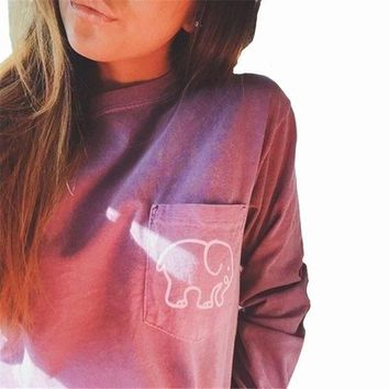 DCCKHQ6 2017 women's Summer Casual Tops Tees Ivory Ella Elephant Long Sleeve t-shirts For Women