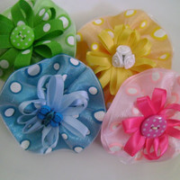 Green Round Bow With Polka Dots Or Yellow YOU CHOOSE COLOR - Ready to Ship - More Colors Have Been Added - Blue & Pink