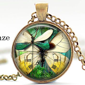 Dragonfly Butterfly Nature Insects Pendant Steampunk Art Pendant Necklace Jewelry Animal lover gifts green wings fantasy