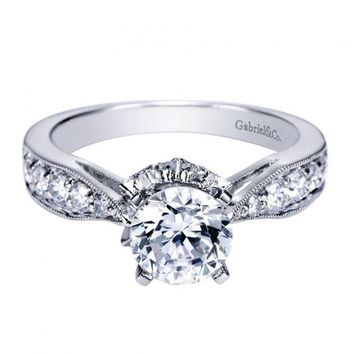 1.42cttw Bead Set Round Diamond Engagement Ring With Ornate Crown Style Head