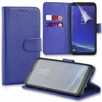 Connect Zone® Blue PU Leather Wallet Flip Case Cover for Samsung Galaxy A6 2018 with Screen Guard, Polishing Cloth