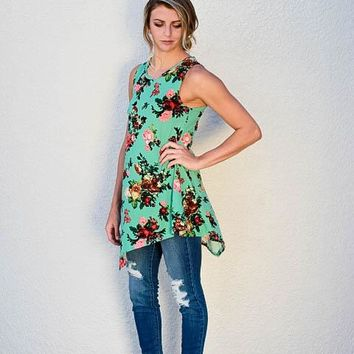 Sweet Life Floral Top - Mint