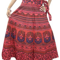 Indian Wrap Skirt Floral Coral Wrap Around Womens Cotton Long Skirts