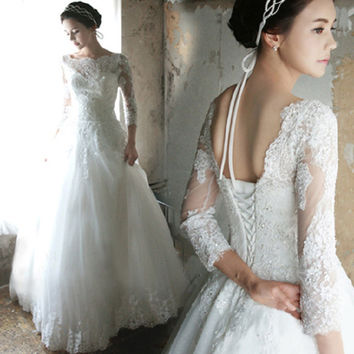 Luxury French Tulle Lace Wedding Dress