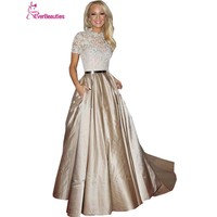 2017 New A-line High Collar Short Sleeves Evening Dresses Elegant Champagne Taffeta Lace Long  Evening Gown Prom Dress