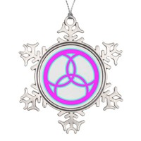 Jesus Fish Trinity Stained Glass - PINK Snowflake Pewter Christmas Ornament