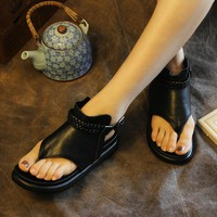 Tyawkiho Genuine Leather Women Sandals Black Fashion Flip Flop Style Sandals Leather Low Heel Shoes Retro Handmade Summer Shoes