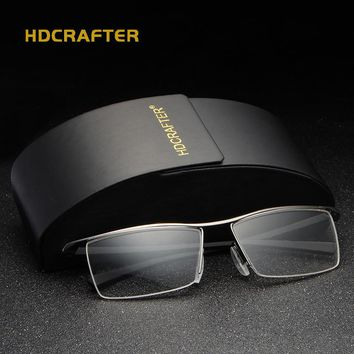 HDCRAFTER Black Clear Glasses Frame Men Eyeglasses Frames for Reading Oculos Glasses Fashion Eyewear Accessories