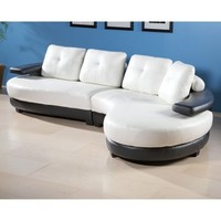 Chintaly Sahara White Leather Sectional Sofa - Modern Living Room Furniture at Hayneedle