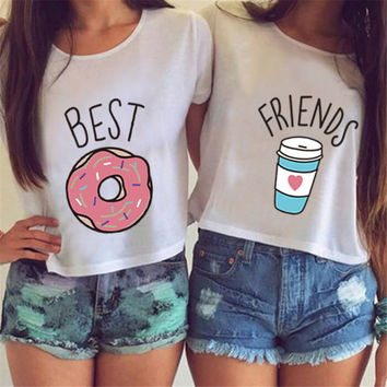 Emoji BEST FRIENDS Funny Print Solid T-shirts O-neck T shirt White Tops