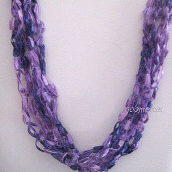 ON SALE Crochet Necklace Lavender Lilac Spring Summer Eclectic Necklace Ladder Yarn Soft Necklace Boho Teen Jewelry