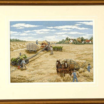 Harvest Wall Hanging - Framed Vintage Landscape Scene in Petit Point Stitching - Farming Nostalgia