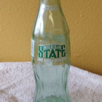 Coca Cola 8 oz. glass bottle Michigan State Basketball 2000 National Champions