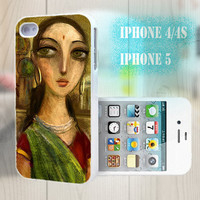 unique iphone case, i phone 4 4s 5 case,cool cute iphone4 iphone4s 5 case,stylish plastic rubber cases cover, oil painting indian girl p1017