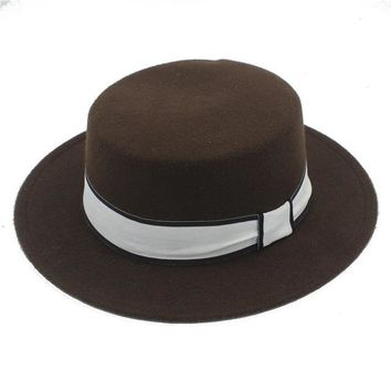 Men's Wool Flat Homburg Fedora Jazzy Church Hat