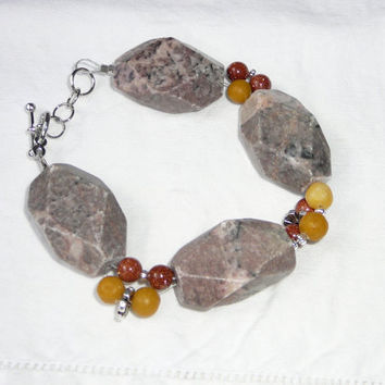 Chunky Pink Marble & Sunstone Bracelet with Yellow Marble. Gold. Red. Orange. Silver. Flower Beads. Large Jewelry. Sale. Clearance Jewelry.