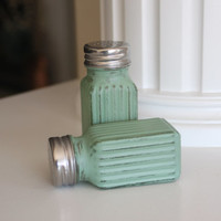 READY TO GO! Rustic Green Salt and Pepper Shakers, Shabby Chic Kitchen Decor, Vintage table setting, Salt and Pepper Shakers, Mother's Day