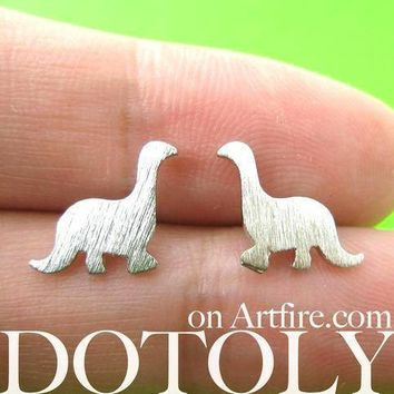 Classic Dinosaur Shaped Stud Earrings in Silver | ALLERGY FREE