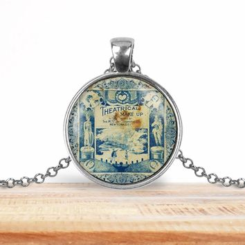 Vintage product label photo pendant - theatrical make up- francophile necklace