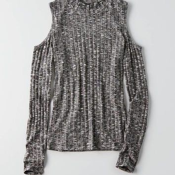 AEO Soft & Sexy Cold Shoulder Top , Gray