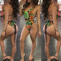 Echoine Tropical Thong One Piece Swimwear Push Up Halter Bandage Bikini Swimsuit High Cut Backless Monokinis Brazilian Maillot