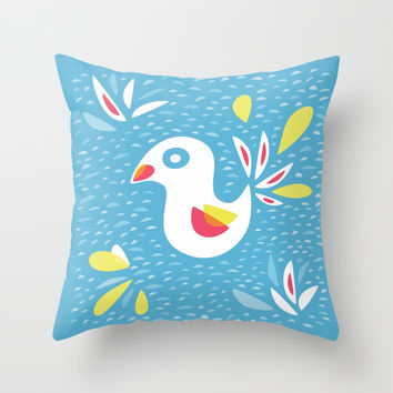 Abstract Bird In Spring Throw Pillow by borianagiormova