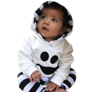 Kids things Bebes Baby Boy Girls Clothes Set Newborns Clothing Little Devil Hood Blouse Stripe Pants Halloween Baby Clothes