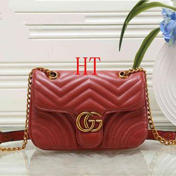 """Gucci"" All-match Fashion GG Letter Quilted Chain Single Shoulder Messenger Bag Women Flip Small Square Bag"