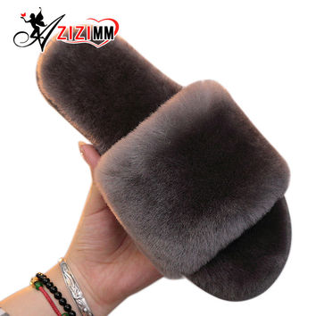 Natural Fur Slippers Women Home Winter Warm Indoor Wool Slippers 2016 Fashion Furry Australia Sheepskin House Slippers AWM210