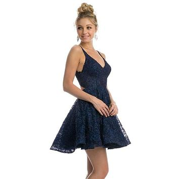 Navy Blue Homecoming Short Dress Criss-Cross and Cut-Out Back