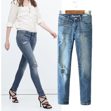 Stylish Ripped Holes Slim Women's Fashion Pants Jeans [5013122820]