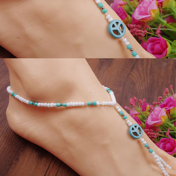 Jewelry Cute Shiny Stylish Ladies Gift Sexy New Arrival Turquoise Handcrafts Stretch Anklet [8527529543]
