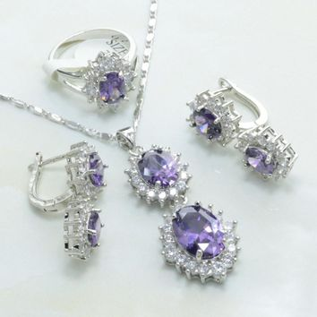 Otogo Transing jewelry sets silver color 925 mark for Women Noble Purple And White Crystal  Shapee Earrings/Necklace/Ring S200