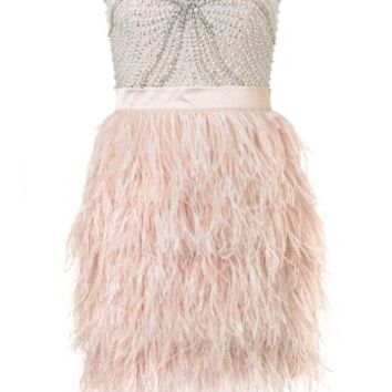 Lipsy V I P Beaded Bust Feather Skirt Dress