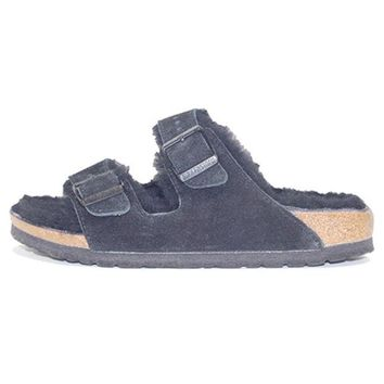 VON3TL Birkenstock for Women: Arizona Fur Suede Black Sandal