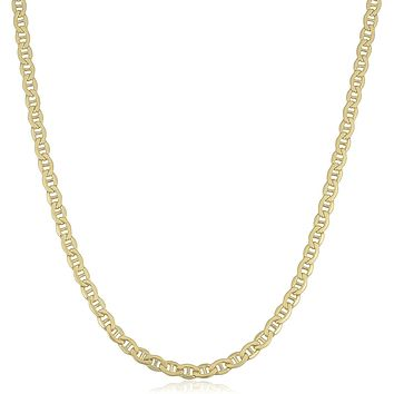 14K Yellow Gold Filled Solid Mariner Chain Necklace, 4.5 mm Wide