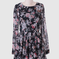 Zen Garden Floral Dress In Black