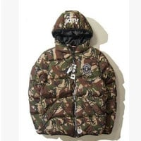 pull loose solid color clothes male thickening cotton-padded jacket cotton-padded aape cotton jacket bape HARAJUKU