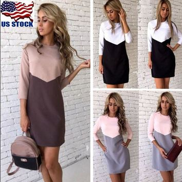 Women Long Sleeve Casual Bodycon Slim Party Evening Cocktail Short Mini Dress US