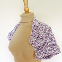 Crochet Ladies Bolero Lavender Bolero Flower Bolero by evefashion