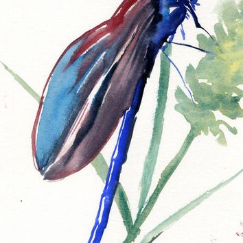 Dragonfly Painting, blue red small watercolor art, 7 x 5 in, dragonflies, dragonfly art, small artwork, gift, unique gift, watercolor