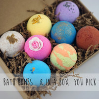 Pack of 8 Bath Bombs 4.5oz Large Size Assorted Colors & Scents Ultra Handmade Shea Cocoa Butter Moisturize Dry Skin Child Safe Great Gift