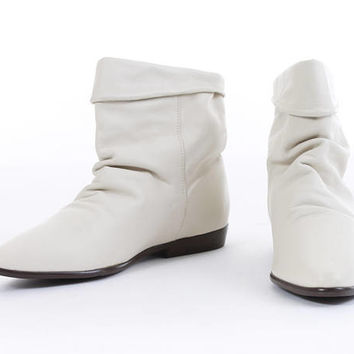 Ankle Boots 5.5 White Leather Boots Slouchy Ankle Boots Pointed Toe Boots Minimalist Vintage Boots Women's Size US 5.5 / UK 3.5 / EUR 36