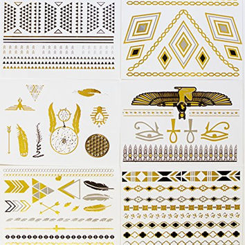 Gold Silver Black Metallic Temporary Tattoo - Egyptian Designs - 6 Sheets - Cleopatra - Necklace - Feather - Dreamcatcher