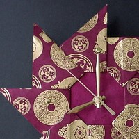Unique Wall Clock Bordeaux Spiral Origami-Large