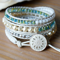 Bohemian beaded leather wrap bracelet, white, cream pearls, blue, green, yellow, opalite trendy jewelry, four times wrap