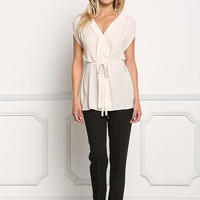 Cream Cap Sleeve Cinched Blouse